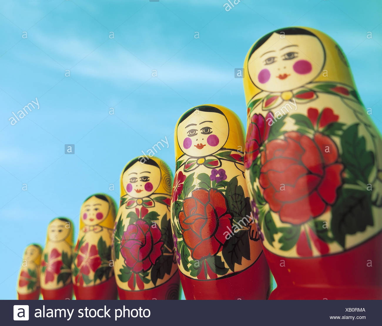Matroschka, wooden figures, size, passed away, Matrjoschka, doll, wooden doll, toys, folk art, in Russian, souvenir, comparison, size, size comparison, difference, differently, product photography, Still life Stock Photo
