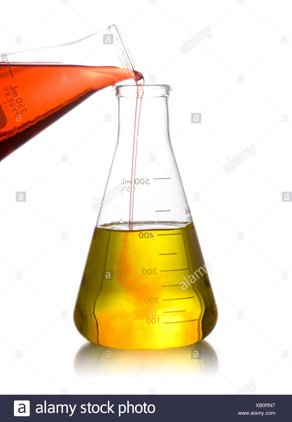 erlenmeyer flask full of liquid - Stock Image