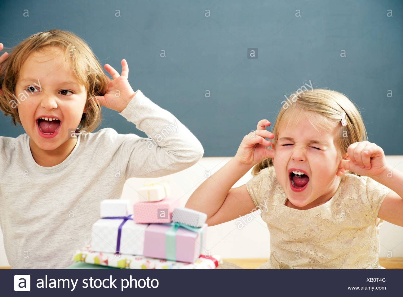 Children on birthday party having fun, Munich, Bavaria, Germany - Stock Image
