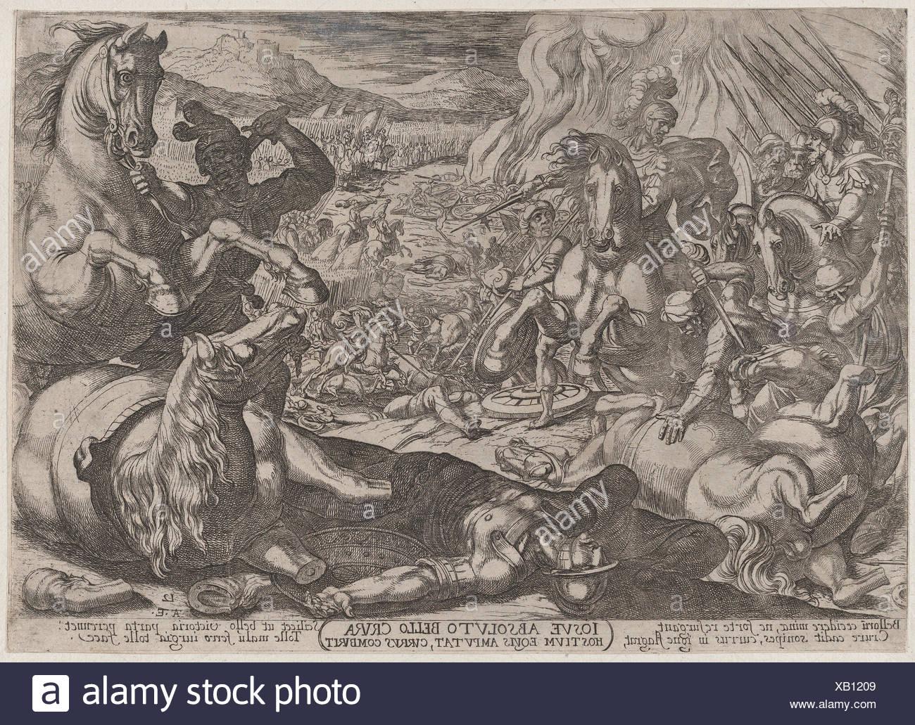 Plate 12: Joshua Mutilates his Enemies' Horses, from 'The Battles of the Old Testament'. Artist: Antonio Tempesta (Italian, Florence 1555-1630 Rome); - Stock Image