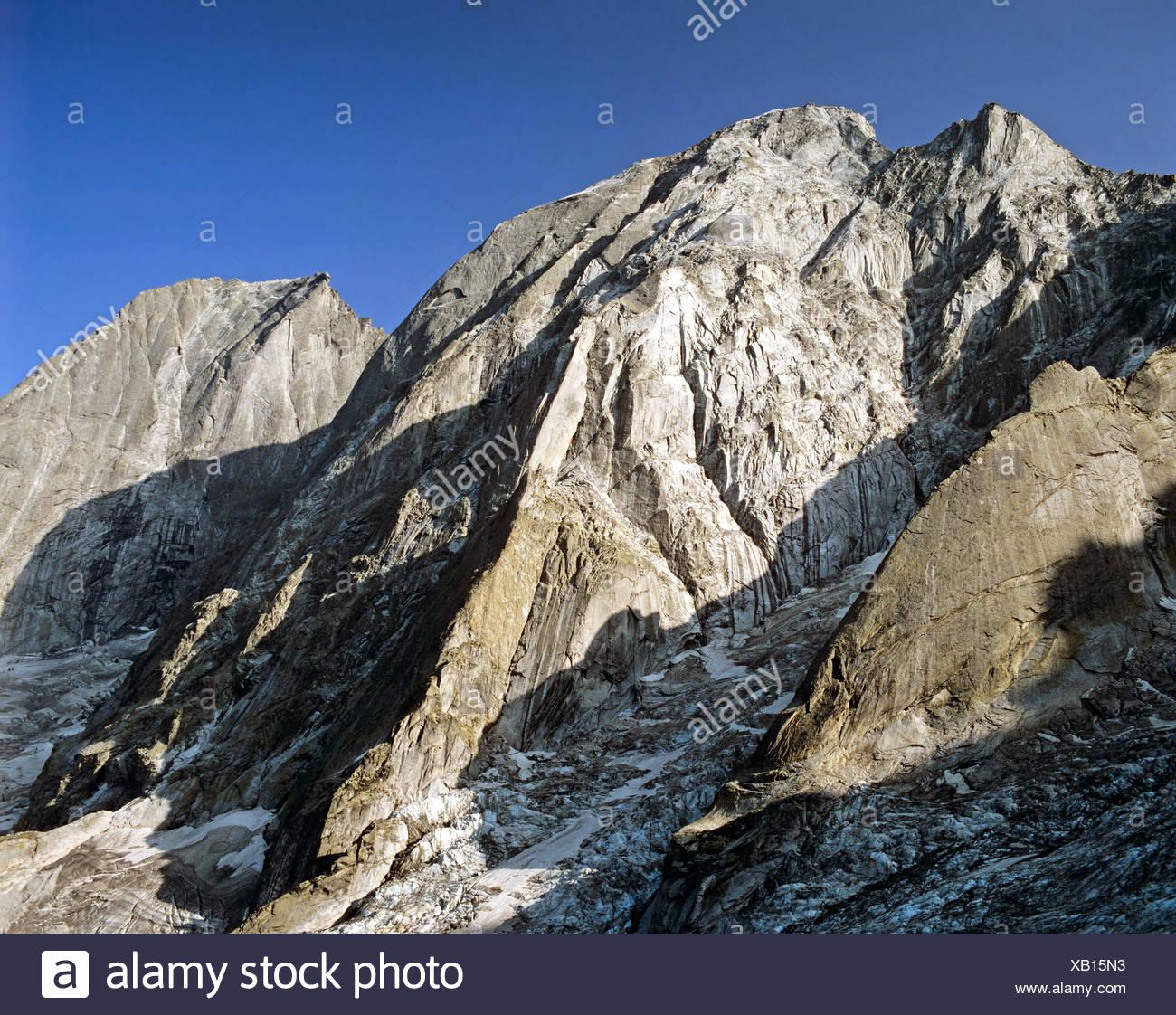 Mts. Buegeleisenkante, Piz Cengalo and Piz Badile, Bergell, Grisons, Switzerland, Europe - Stock Image