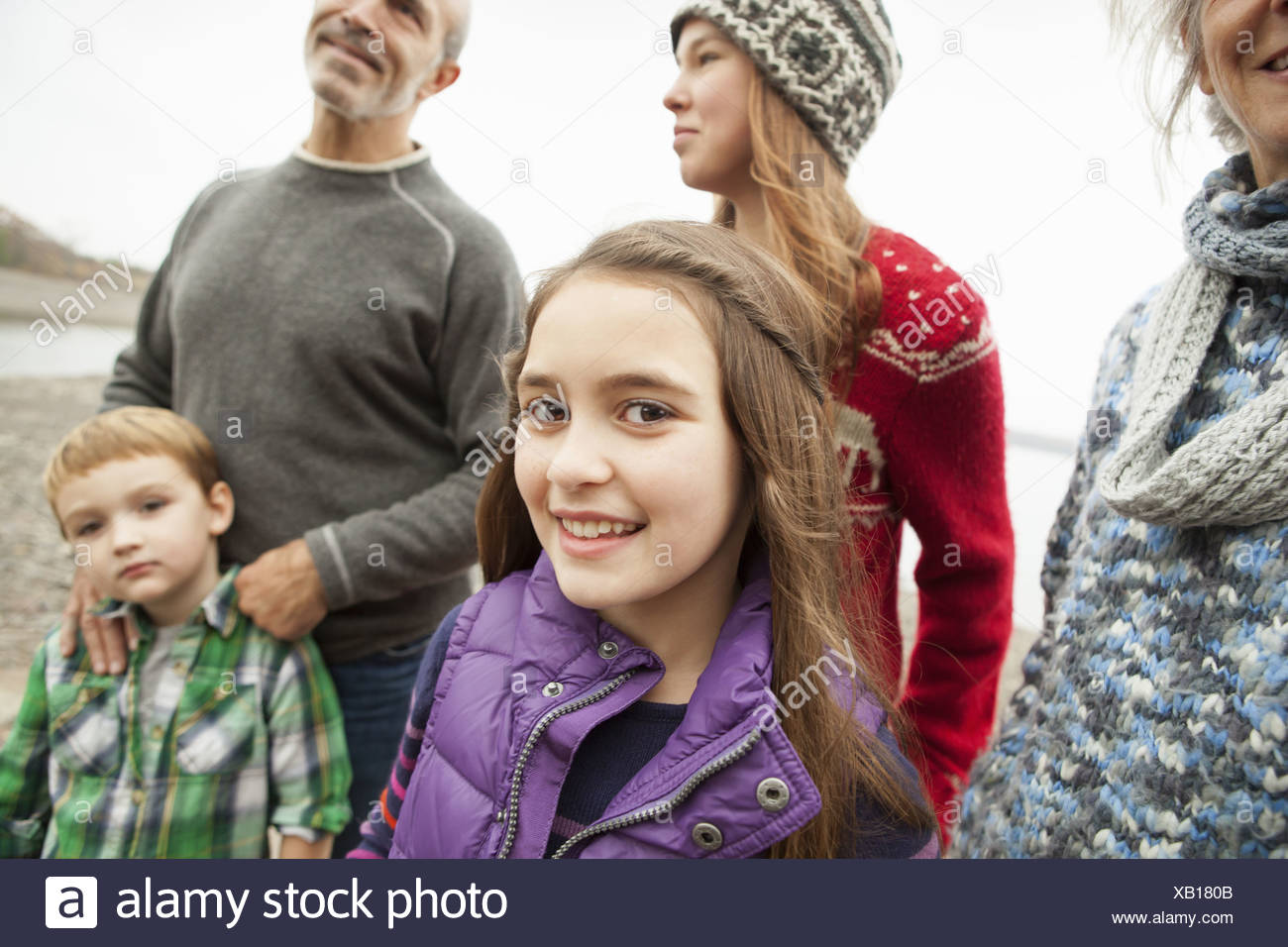 A day out at Ashokan lake. A group of people, adults, teenagers and children. - Stock Image