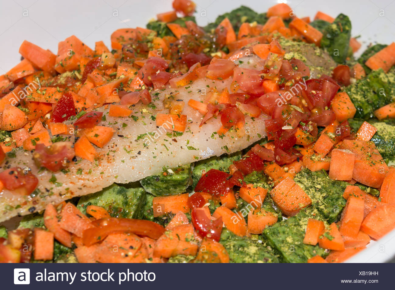 Healthy food, compilation fish with vegetables - Stock Image