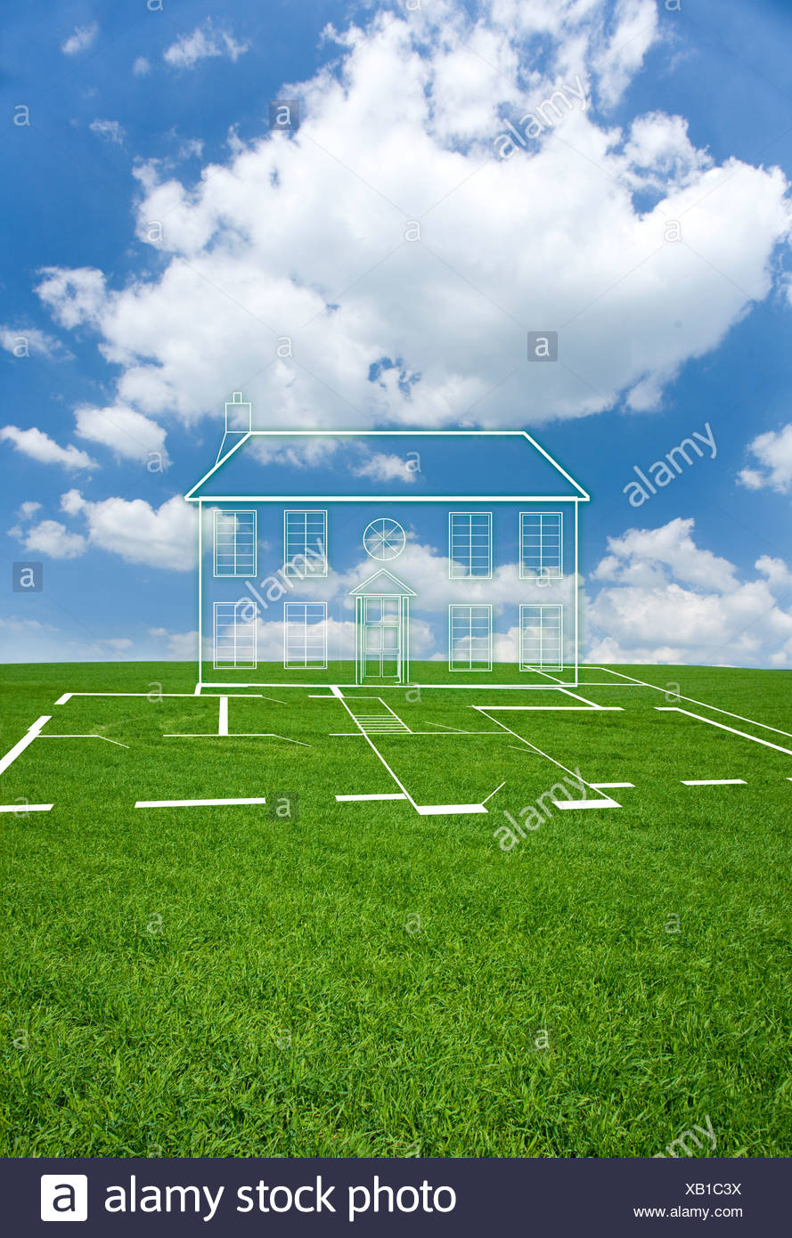 Cut out house in grass field - Stock Image