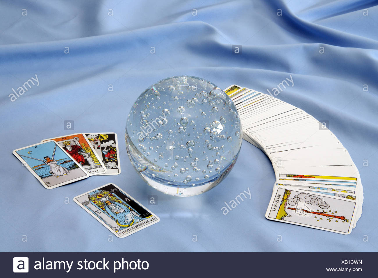 fortune telling tarot cards interpret - Stock Image