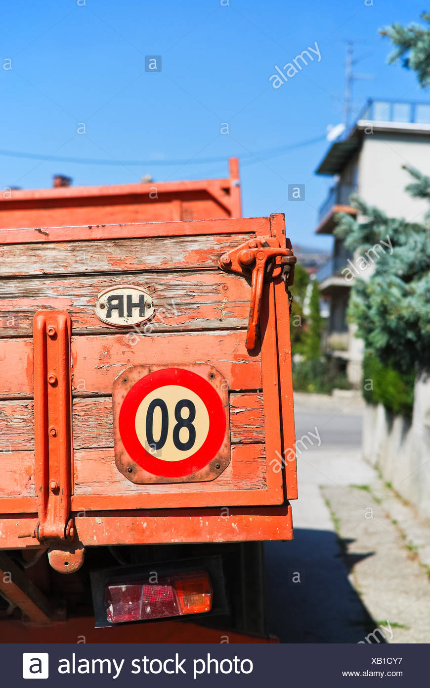 Red truck in Zagreb Stock Photo