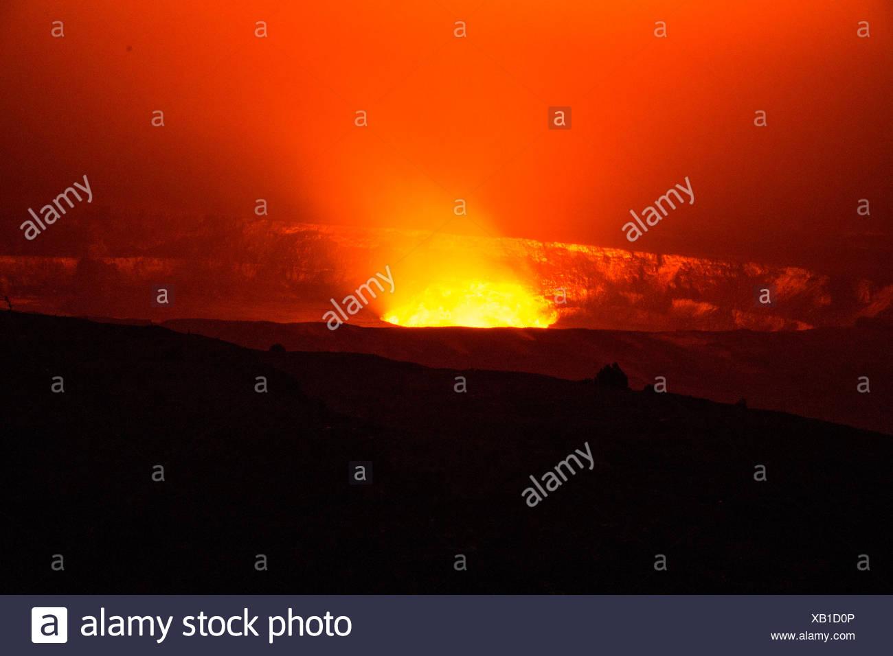 Big Island,Kilauea,volcano,Caldera,Vulcanoes,National Park,Big Island,USA,Hawaii,America,Volcanical,lava, - Stock Image