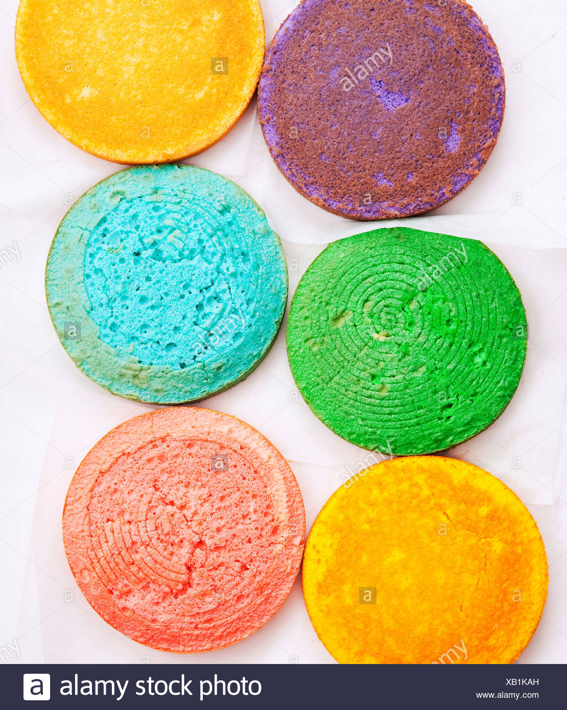 Round colored sponge bases - Stock Image