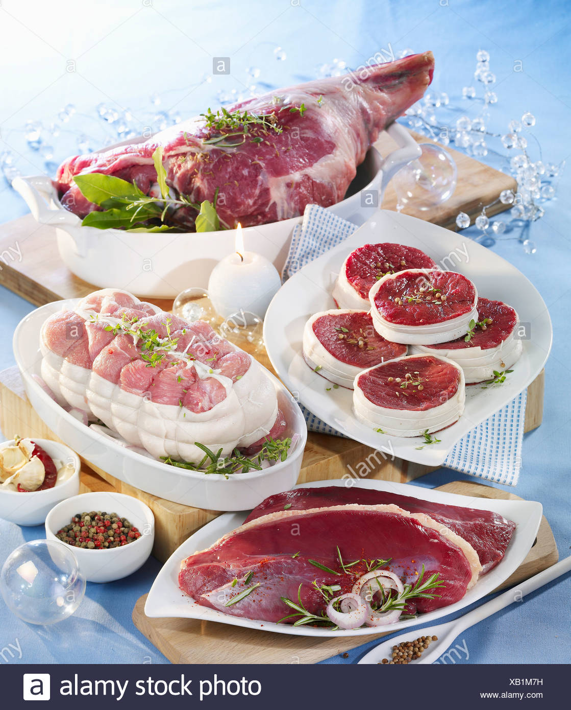 Assorted raw meats - Stock Image