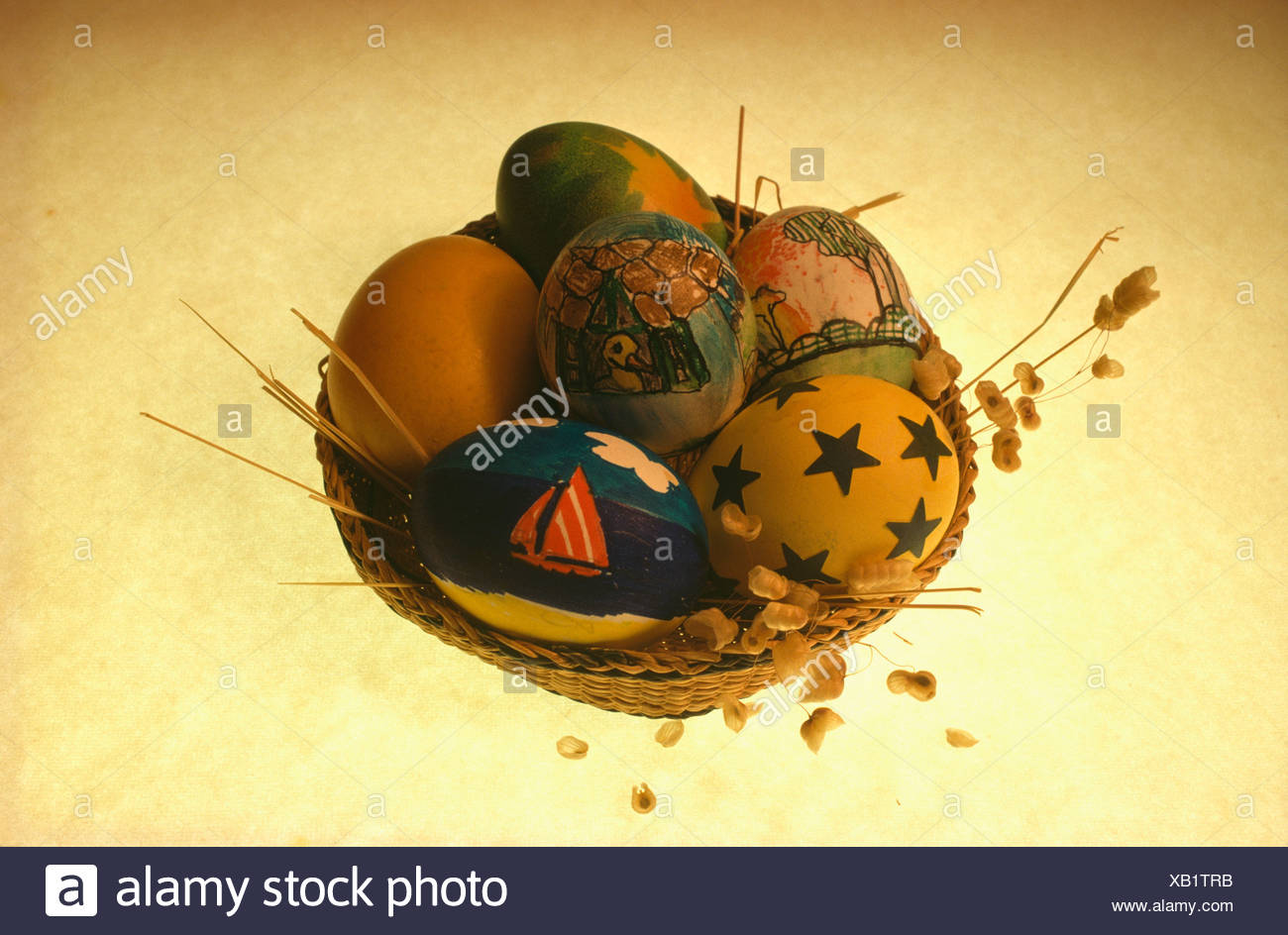 Close Up Of Basket Of Blown Eggs Decorated And Painted For