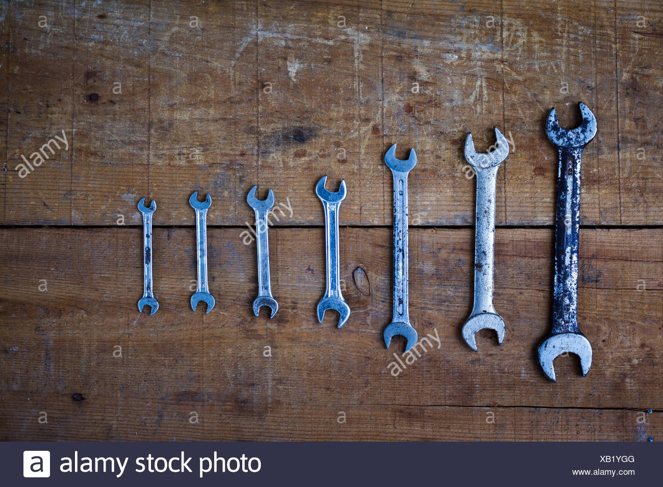 Directly Above Shot Of Spanners On Table - Stock Image