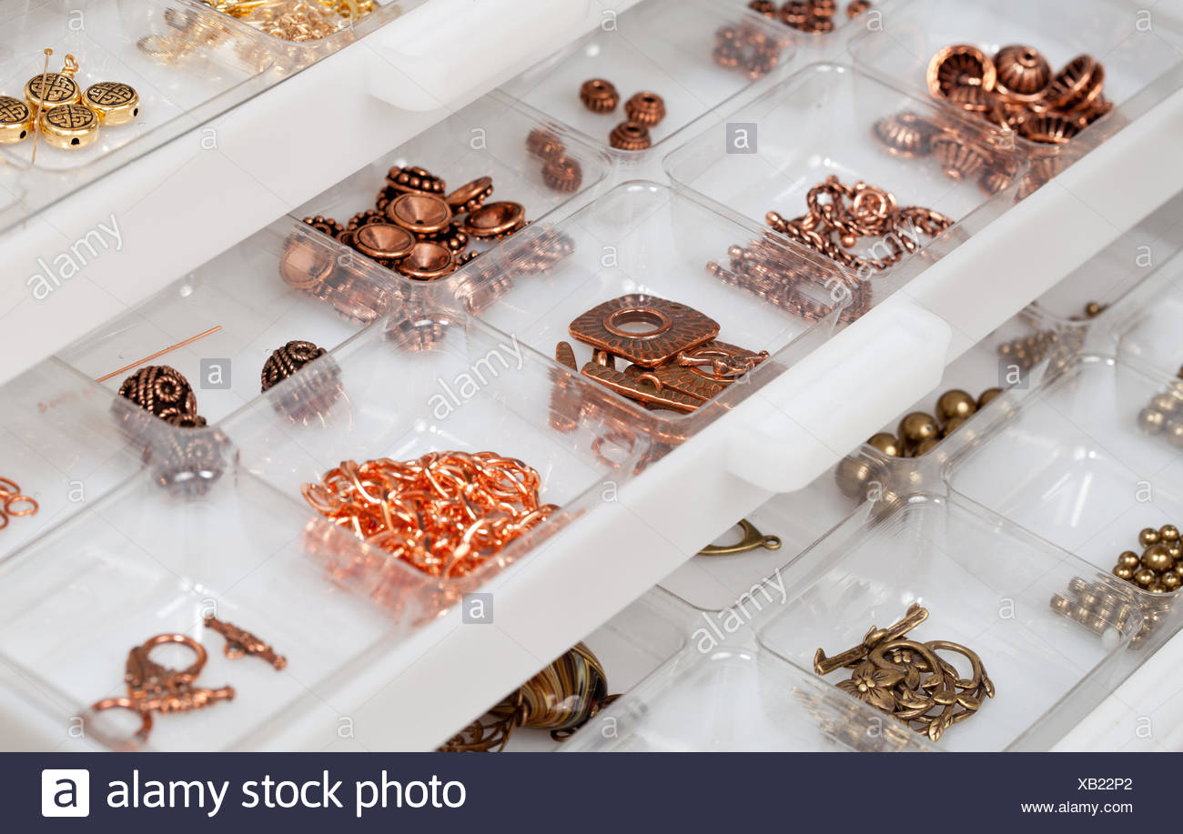 Drawers of jewelery findings - Stock Image