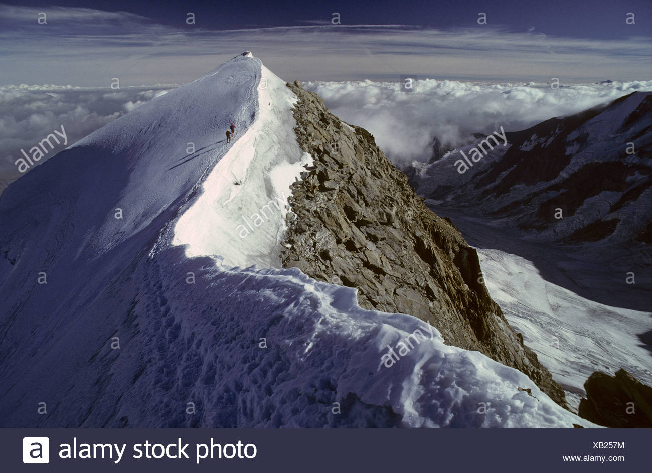 Two mountaineers just below the summit of Dome de Miage, Montblanc-Area, Chamonix, France - Stock Image