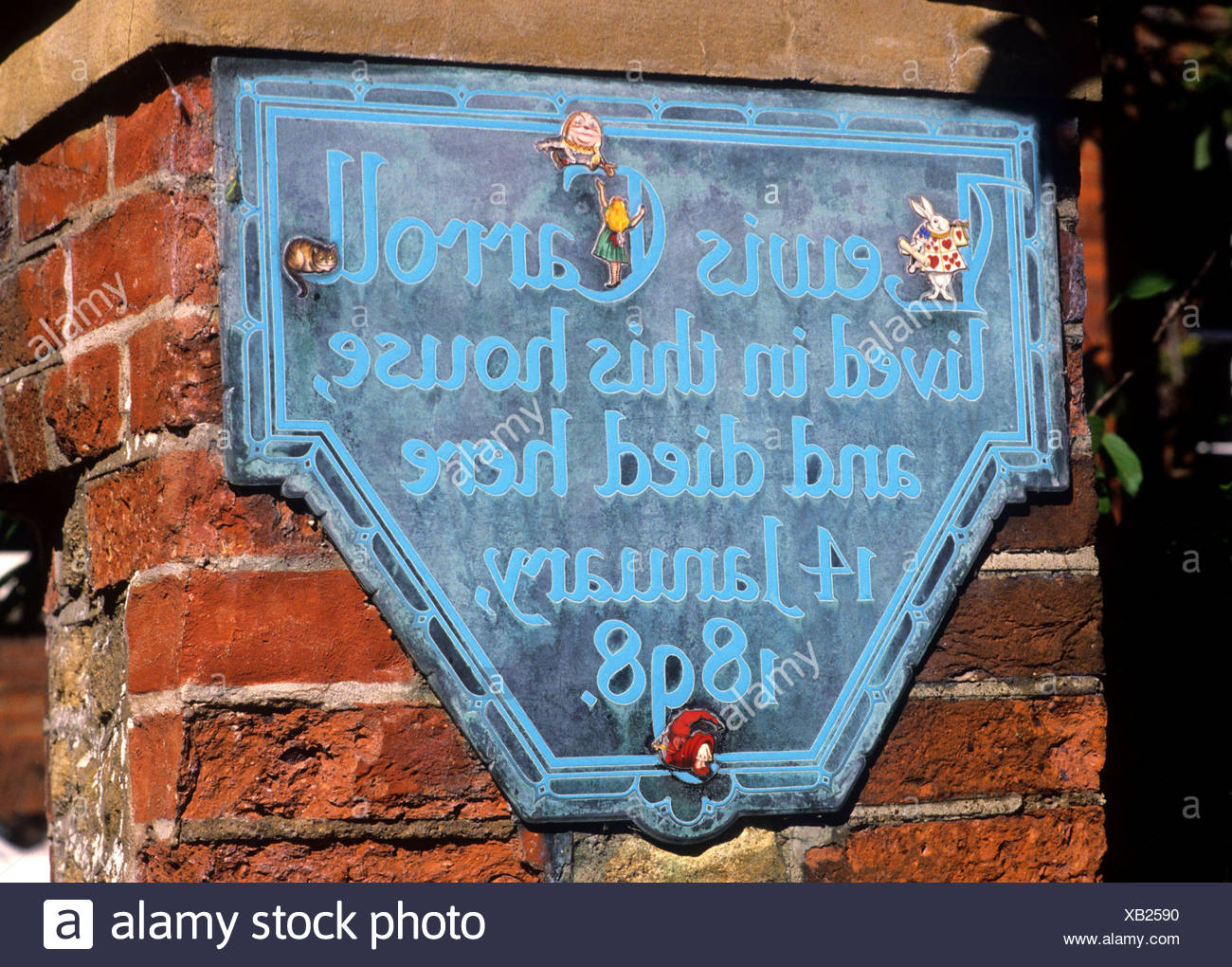 Guildford Lewis Carroll's House Plaque Alice in Wonderland English Author Carroll lived died here 1898 Surrey England UK - Stock Image