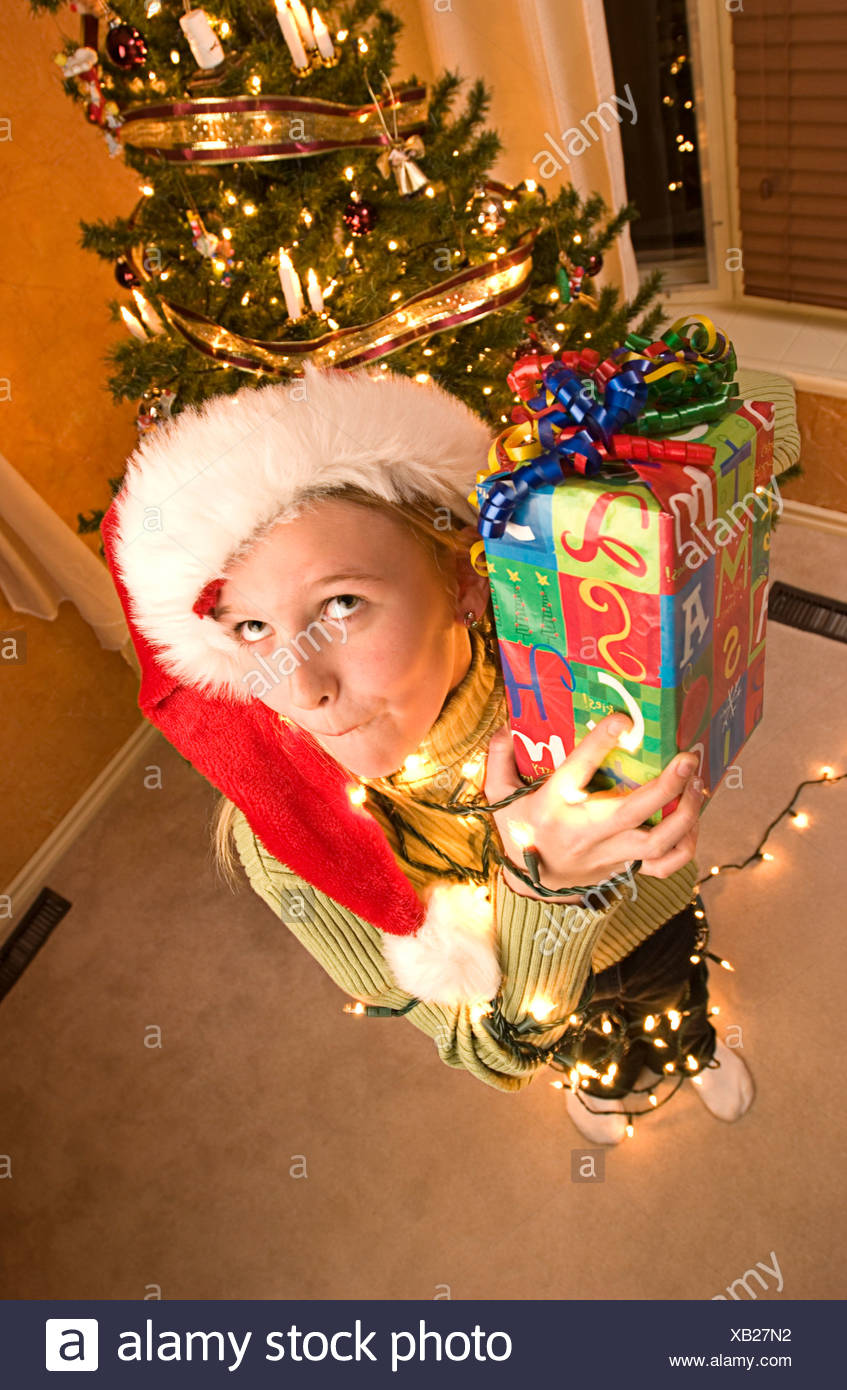 Guessing what's inside present - Stock Image