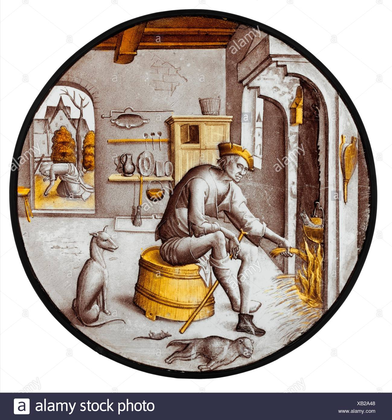 Sorgheloos (Carefree) in Poverty. Date: 1510-20; Culture: Netherlandish; Medium: Colorless glass, vitreous paint and silver stain; Dimensions: - Stock Image