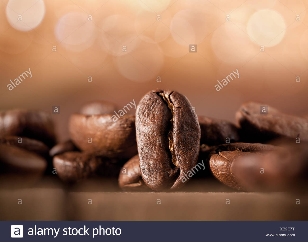 coffee beans on blurred background - Stock Image