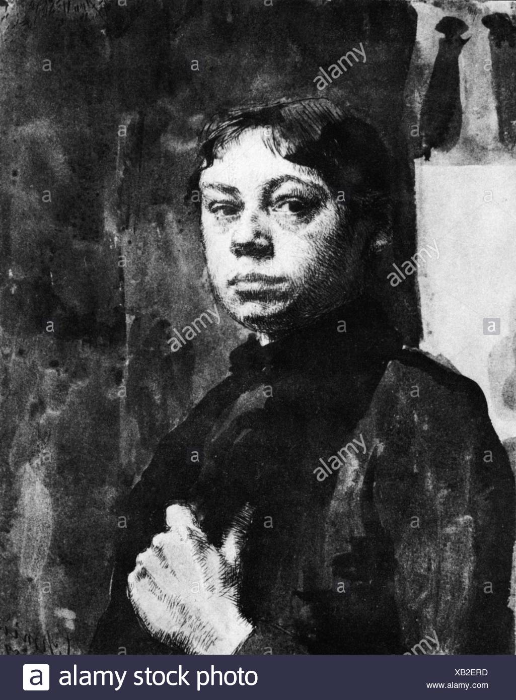 Kollwitz, Kaethe, 8.7.1867 - 22 .4.1945, German painter, printmaker, self-half length, drawing 1889, Additional-Rights-Clearances-NA - Stock Image