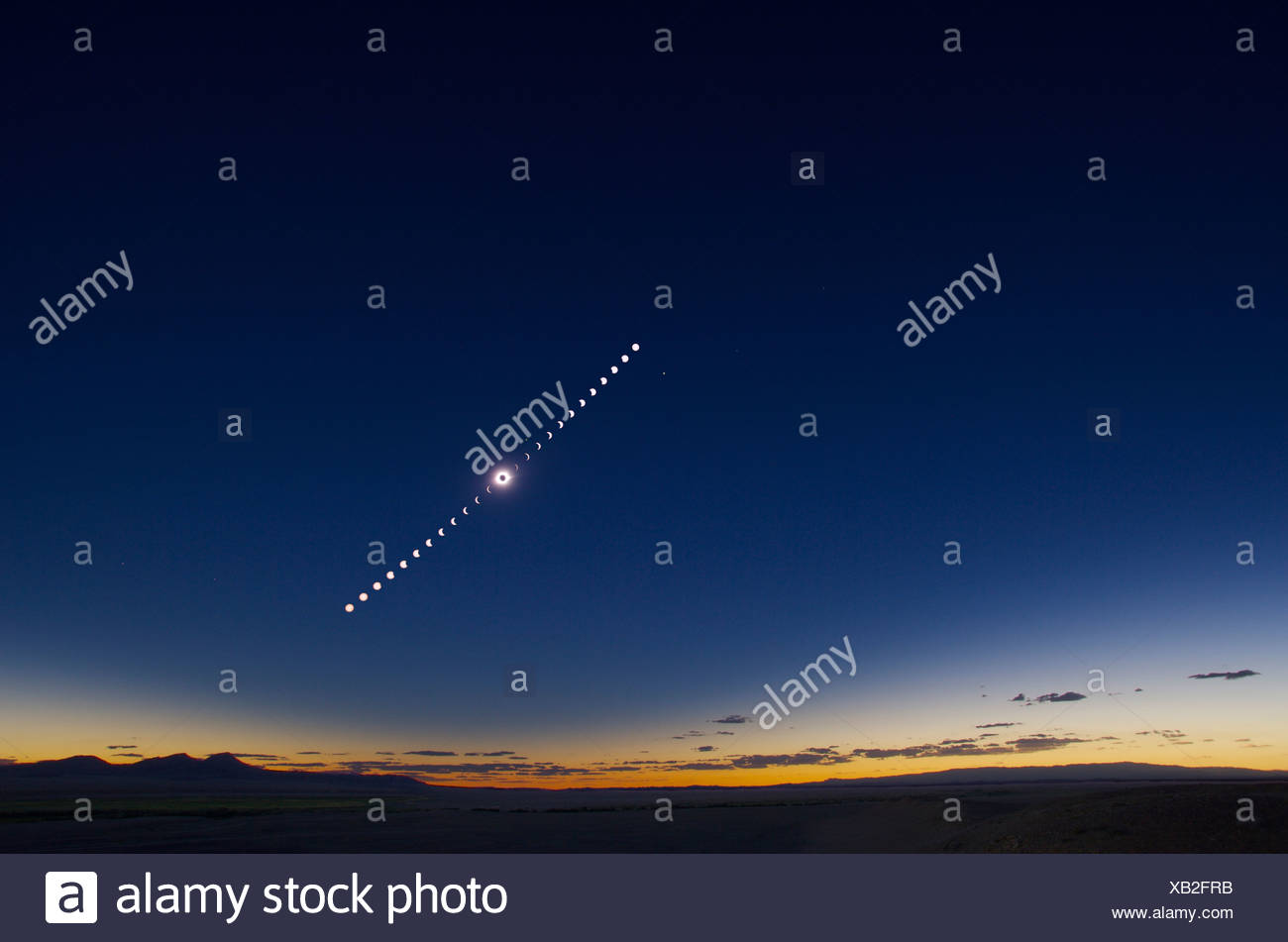 Solar eclipse sequence; - Stock Image