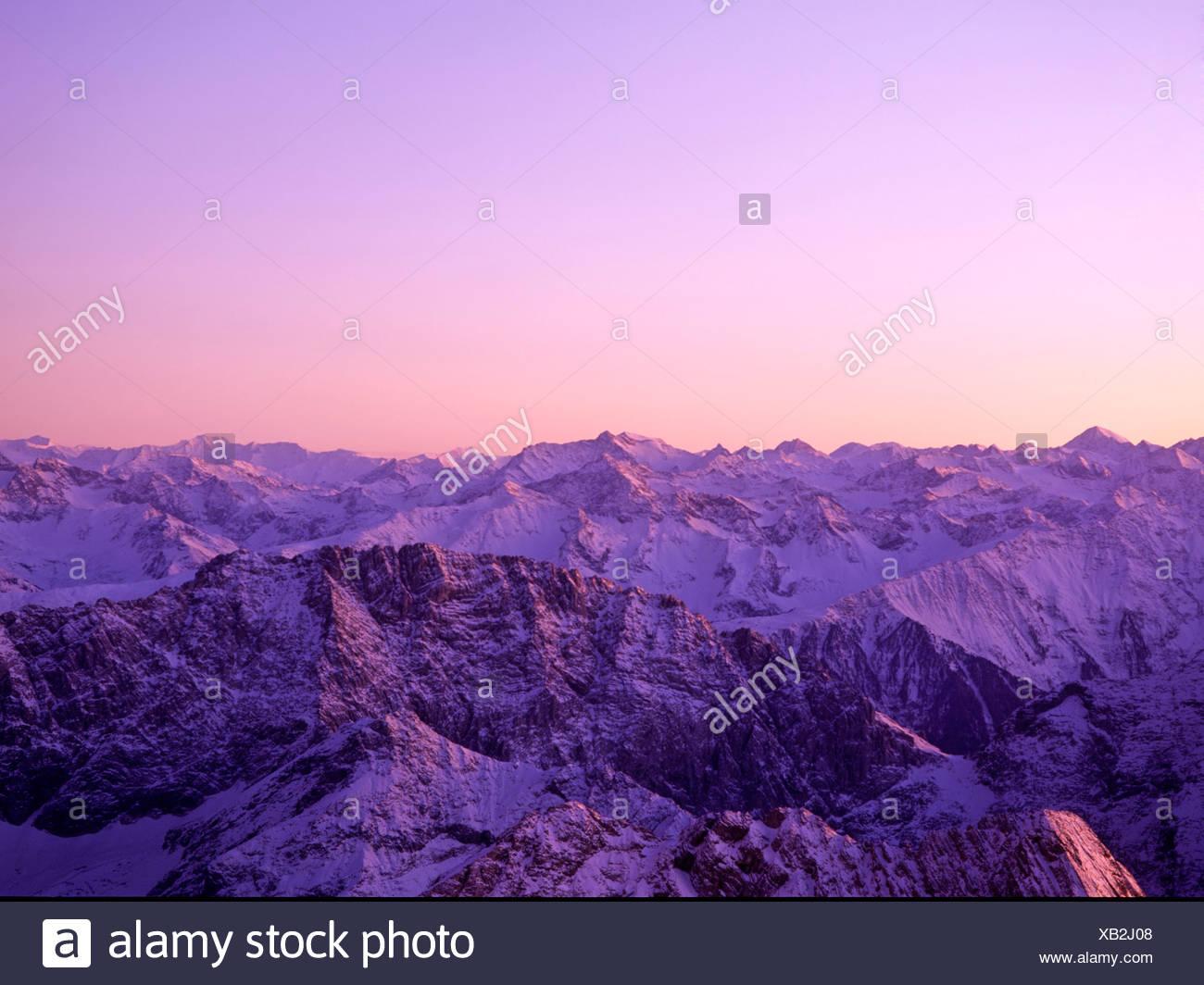 Dusk, Oetztal Alps, Tyrol, Austria Stock Photo