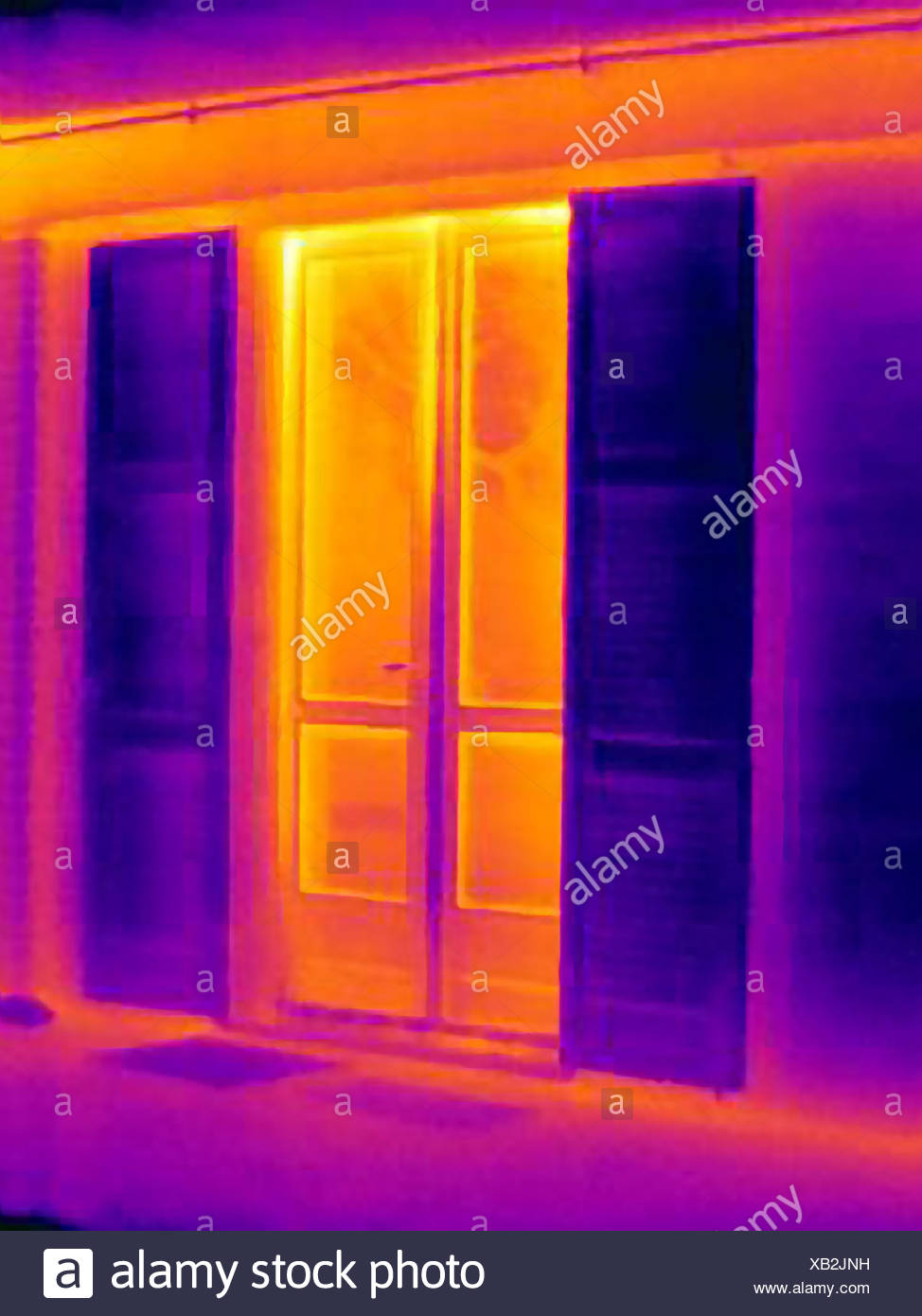 Thermal image of doors - Stock Image