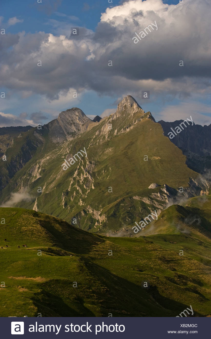 Pic Lalate and Pic Sanctus, pyrenees, Col d'Aubisque, Aquitaine, France, Europe - Stock Image