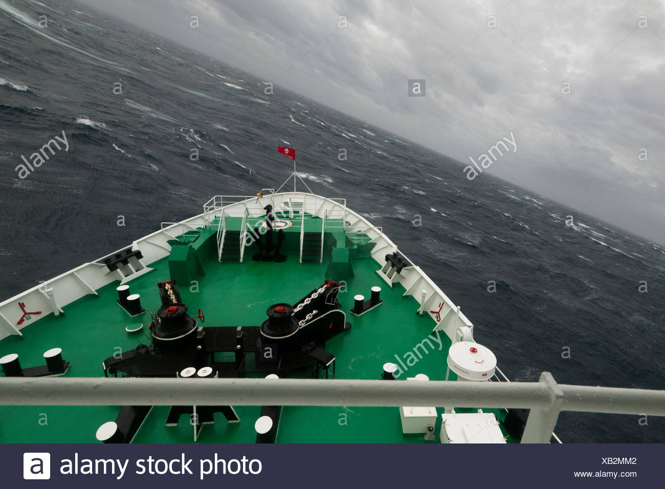 MS Expedition, an expedition cruise ship rolling in rough sea at Drake Passage, Atlantic Ocean, Pazifischer Ozean - Stock Image