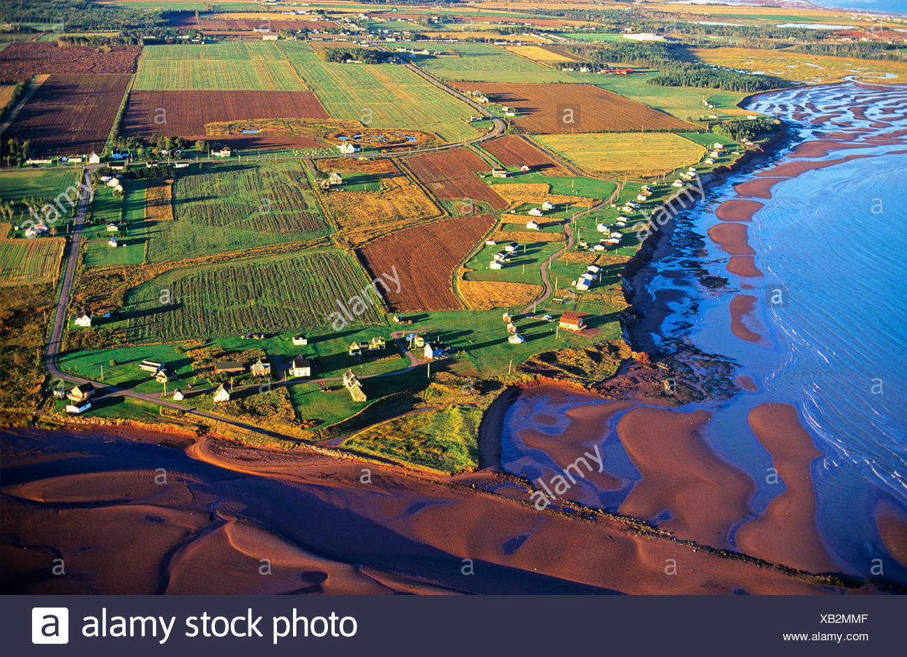 Aerial of cottage development ar Cape Traverse, Prince Edward Island, Canada. - Stock Image