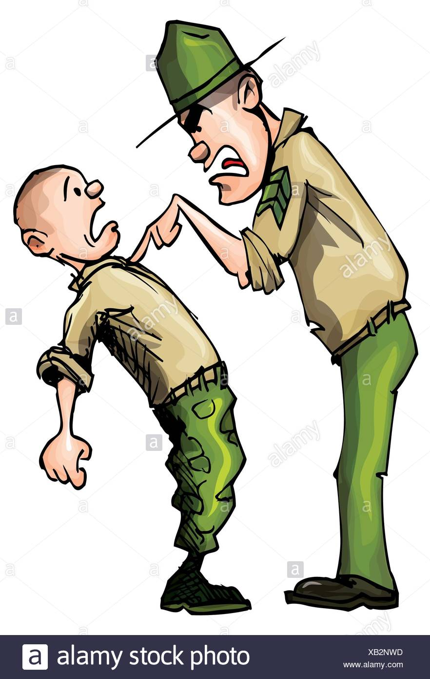Angry Cartoon Drill Sergeant Screaming In Anger Stock Photo Alamy