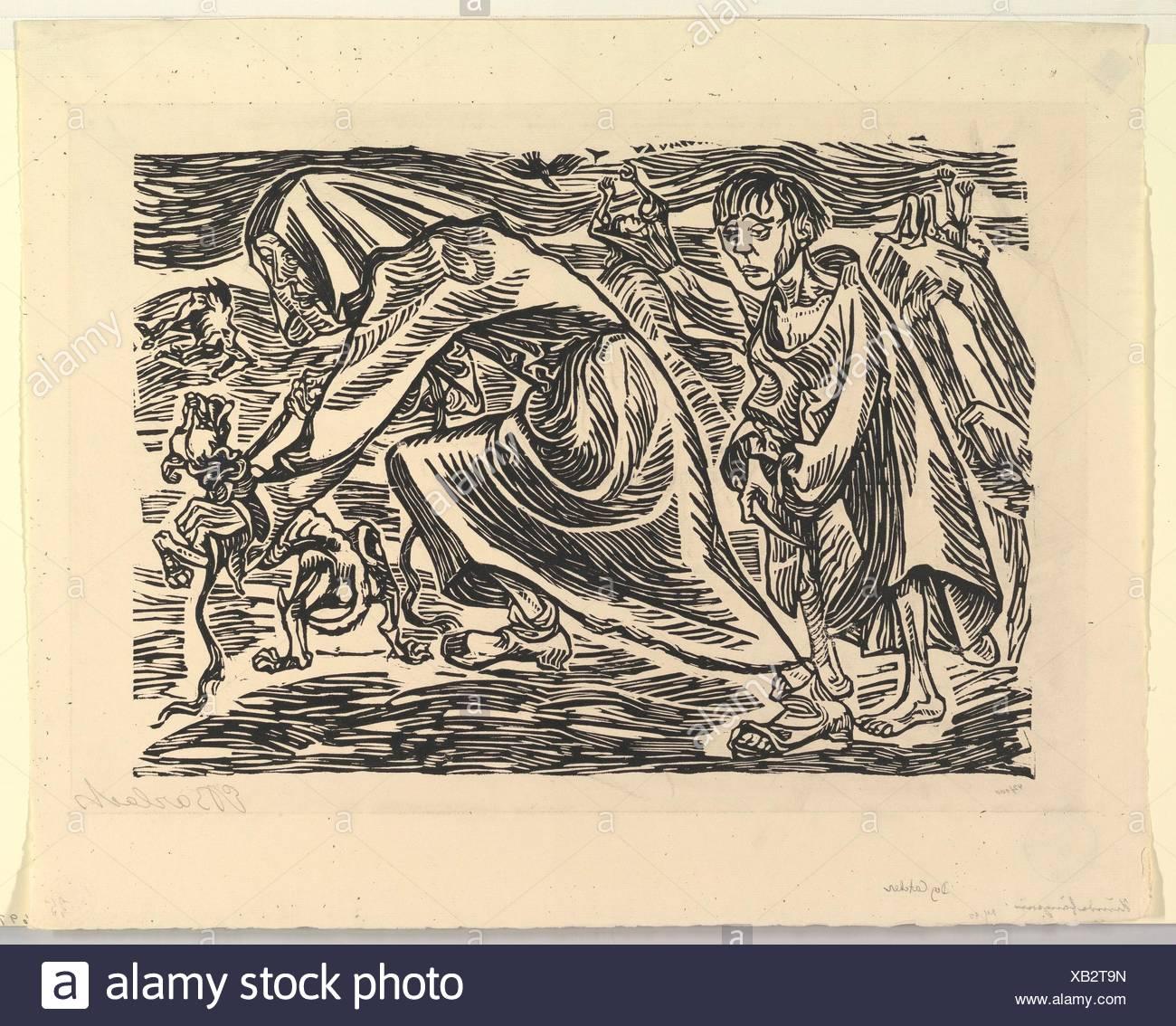 Dog Chasers (Hundefängerin). Artist: Ernst Barlach (German, Wedel 1870-1938 Rostock); Date: 1919; Medium: Woodcut; Dimensions: block: 10 x 14 3/16 - Stock Image