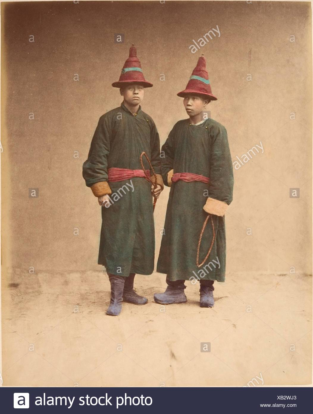 2a52d3f27 [Two Chinese Men in Matching Traditional Dress]. Artist: Raimund von  Stillfried (