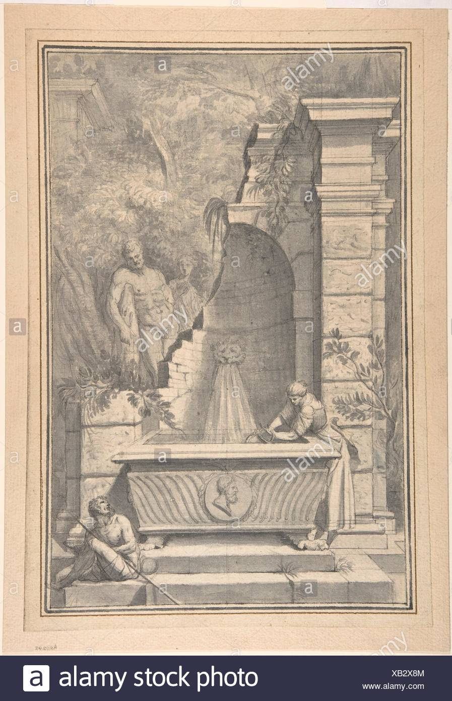 A Woman at a Fountain by a Ruined Temple, the Farnese Hercules in the Background. Artist: Johannes Antiquus (Dutch, Groningen, 1702-1750); Date: 18th - Stock Image