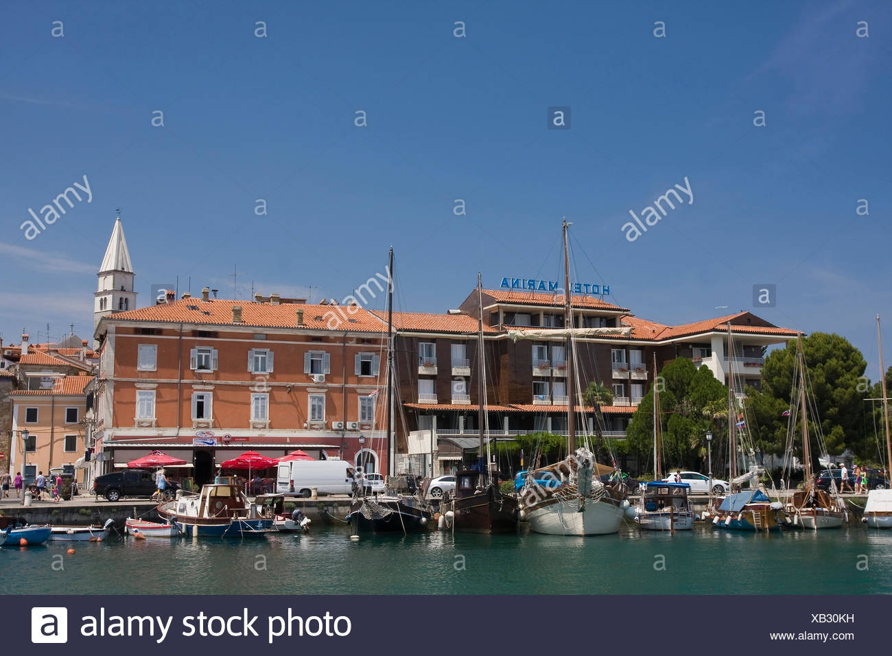 Adriatic, boats, Europe, harbours, ports, harbour, port, Istria, Izola, yachts, yacht harbour, Marina, motorboats, Mediterranean - Stock Image