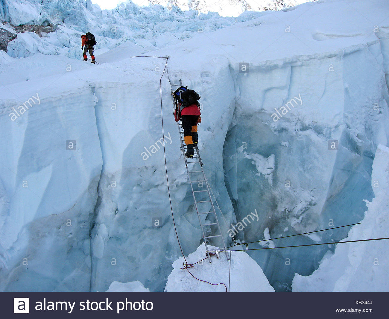 Viennese climber Geri Winkler on a ladder overcoming a crevasse of Khumbu Icefall, ca.5600 m, Mount Everest, Himalaya, Nepal - Stock Image
