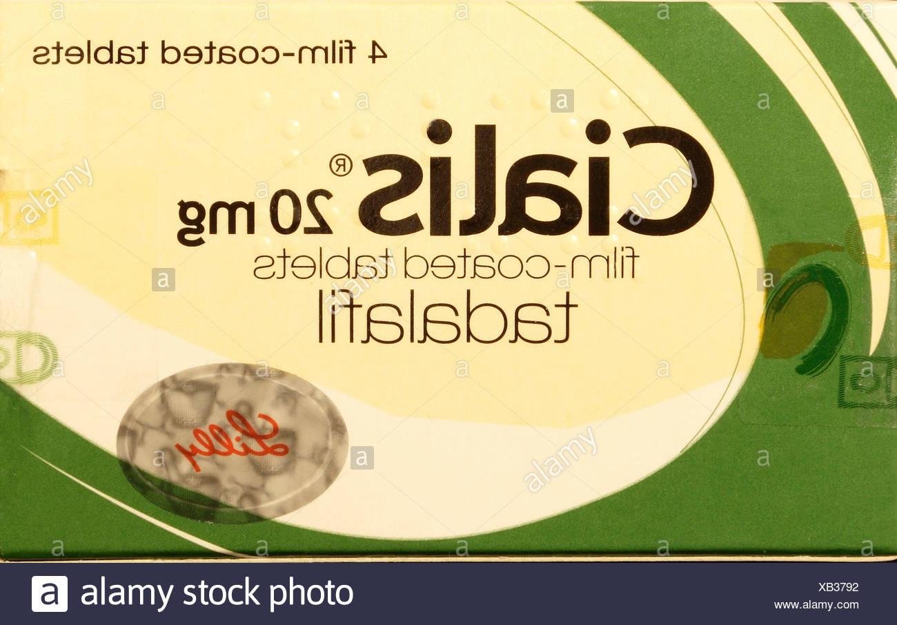 Cialis 20mg tablets, pack, Tadalafil erectile dysfunction tablet, cure, prescription drug, drugs medicine medicines viagra 20 mg - Stock Image