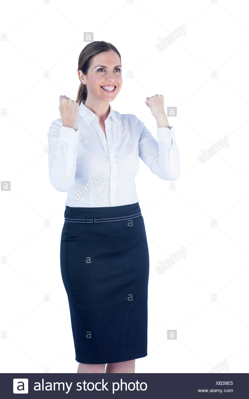 Pretty happy businesswoman reached her goal - Stock Image