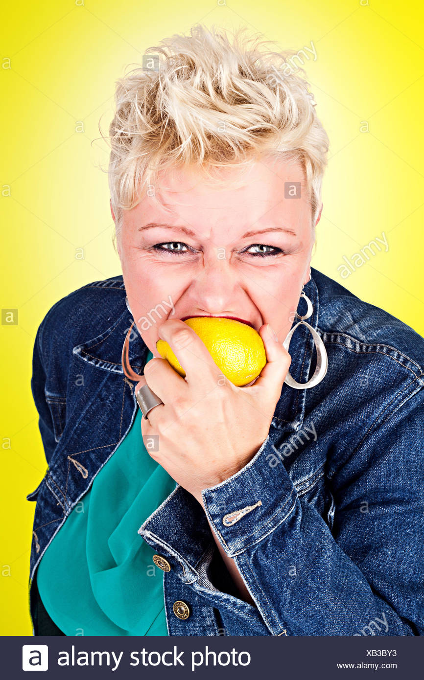 woman, mouth, face, juice, sour, grimace, lemon, citron, forgiven, woman, Stock Photo