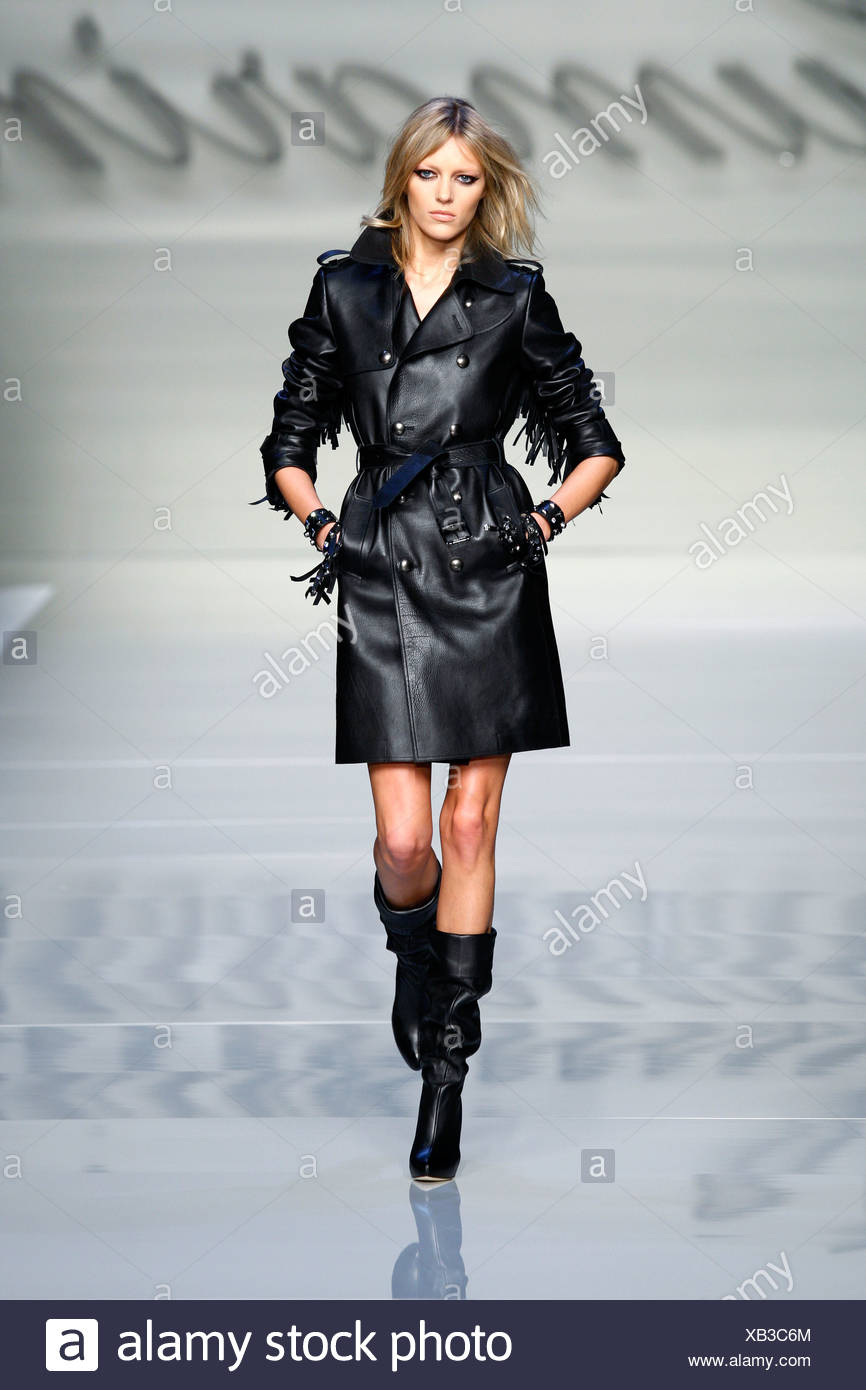 e732a179b9 Blumarine Milan Ready to Wear Autumn Winter Black knee length double  breasted leather coat belt and fringing