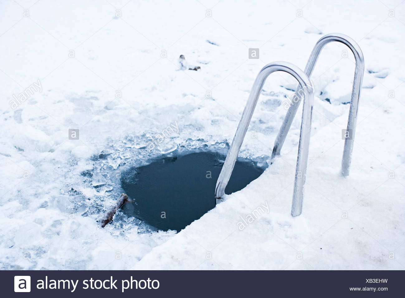 A hole in the ice, Stockholm, Sweden. - Stock Image