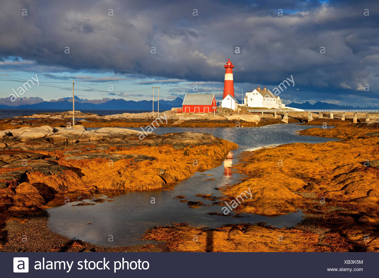 Europe, Norway, Nordnorwegen, province northern country, local authority district Hamaroy, island Tranoy, lighthouse of Tranoy - Stock Image