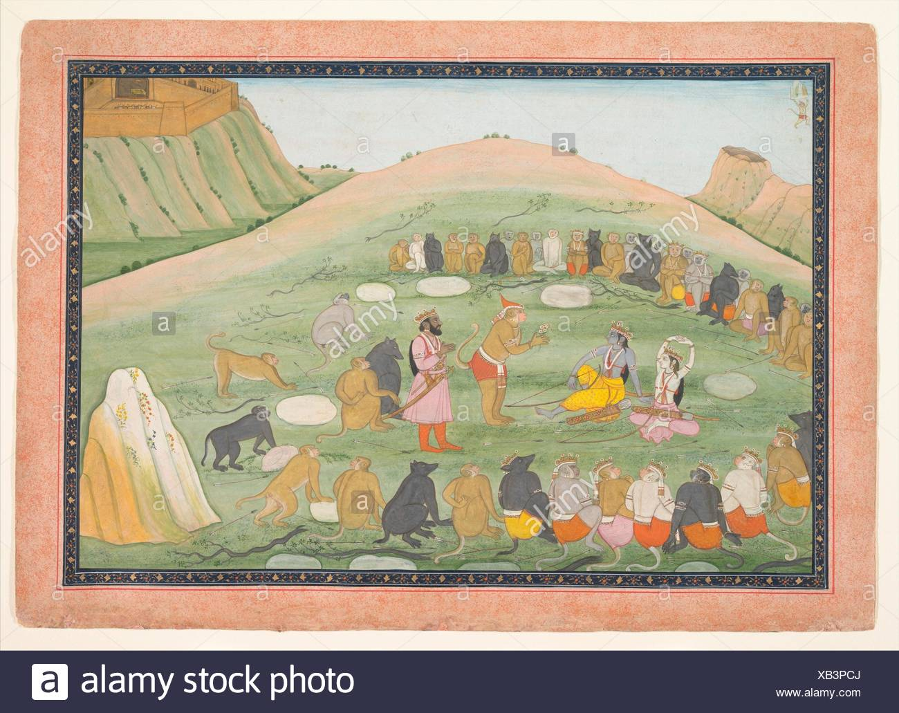 Hanuman Revives Rama and Lakshmana with Medicinal Herbs. Artist: Workshop active in the generation after Nainsukh (active ca. 1735-78); Date: ca. - Stock Image