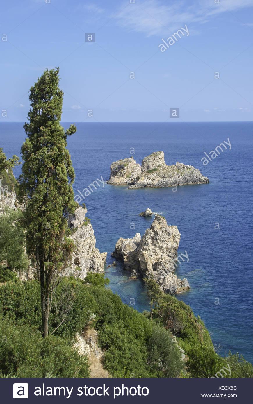 Coastline nearby Paleokastritsa, Korfu, Greece - Stock Image