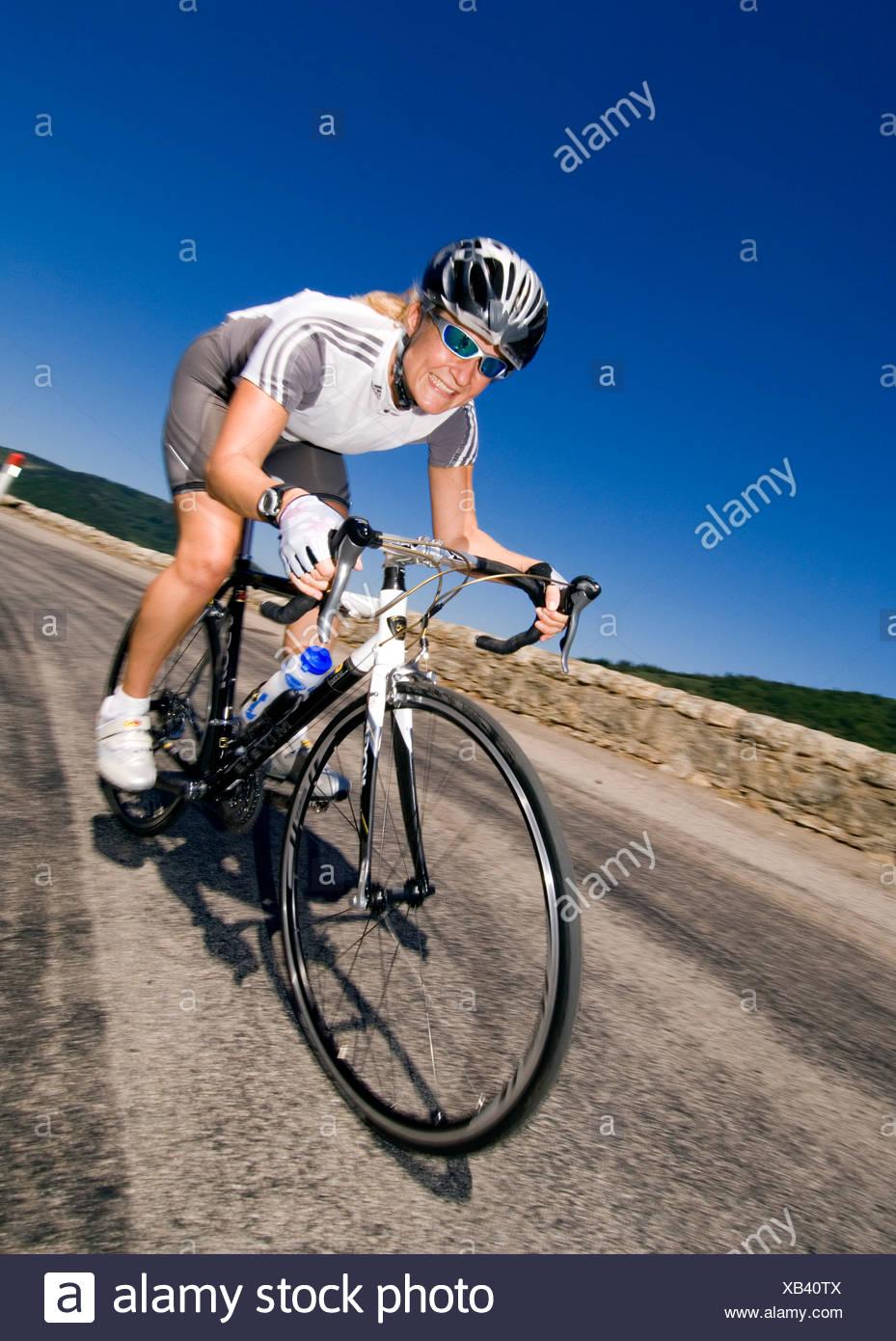 Racing cyclist, Ardeche, France - Stock Image