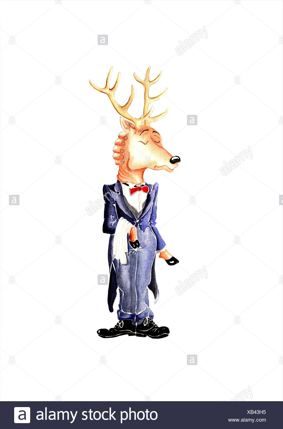 Deer with antlers in tailcoat with red bow-tie - Stock Image
