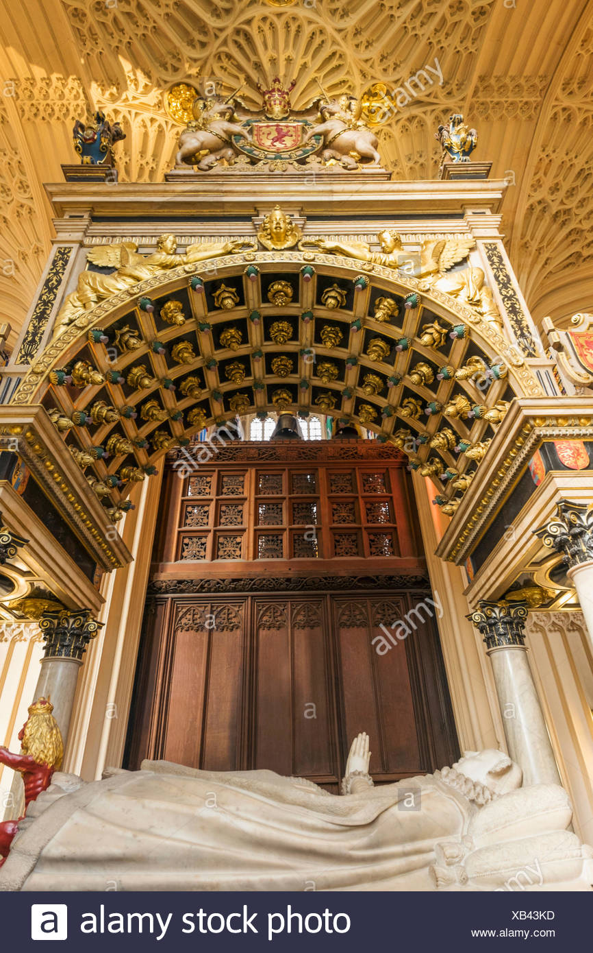 England, London, Westminster Abbey, Henry VII's Lady Chapel, Tomb of Mary Queen of Scots - Stock Image
