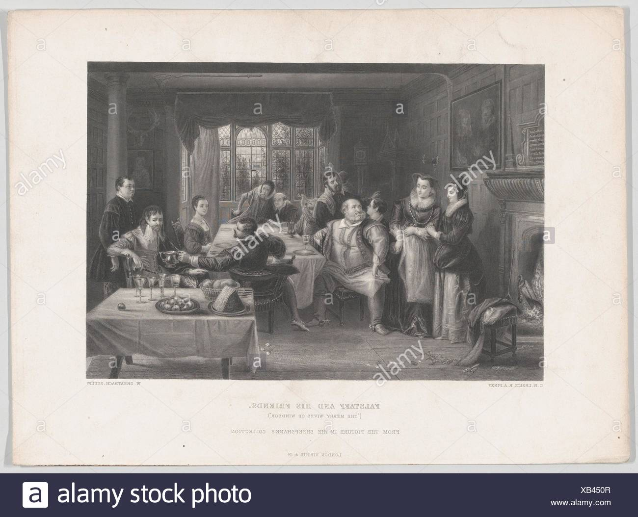 Falstaff and His Friends (The Merry Wives of Windsor). Engraver: William Greatbach (British, Stoke-on-Trent 1802-1894 London); Artist: After Charles - Stock Image