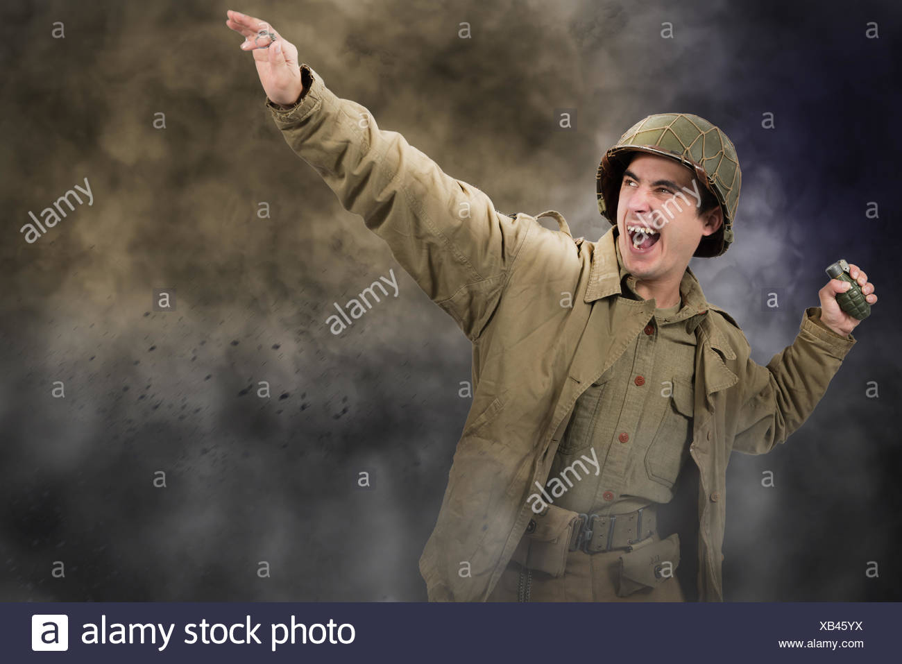 American soldier ww2 throwing a grenade - Stock Image