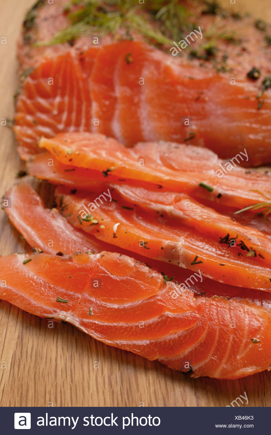 Graved lachs with dill - Stock Image