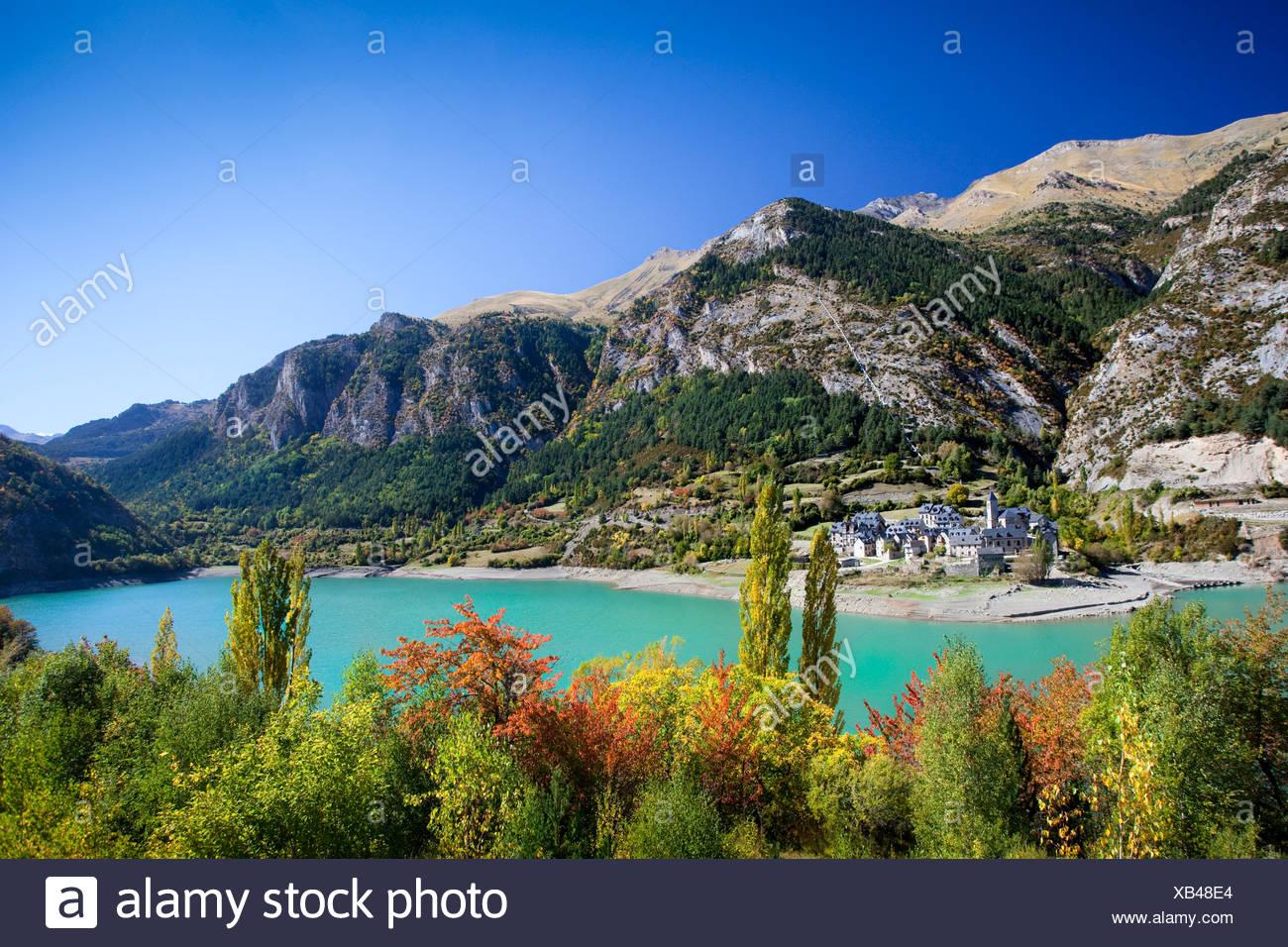 Spain, Europe, Aragon, Huesca, Pyrenees, Lanuza, mountains, lake, sea, trees, autumn Stock Photo