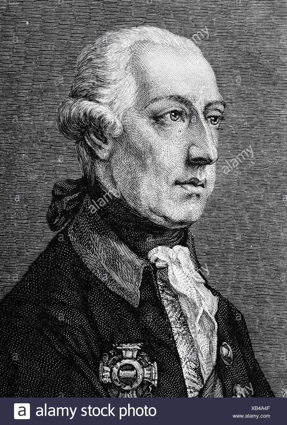Joseph II, 13.3.1741 - 20.2.1790, Holy Roman Emperor 18.8.1765 - 20.2.1790, portrait, wood engraving, 19th century, , Additional-Rights-Clearances-NA Stock Photo